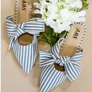 Shoes - Vegan suede stripes bow ribbon flats mules